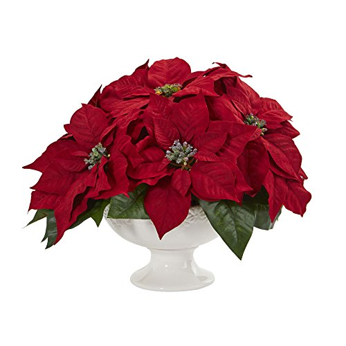 Nearly Natural 1572 Poinsettia Arrangement in Urn Artificial Plant, Red