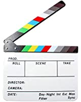 "Andoer Acrylic Clapboard Dry Erase Director Film Movie Clapper Board Slate 9.6 * 11.7"" with Color Sticks"
