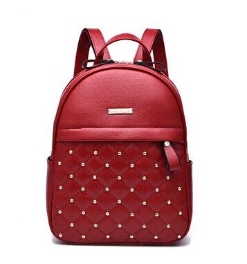 Meoaeo La Mujer Mochilas Moda Bolsas Causal De Remache De Alta Calidad Bolso Femenino Del Cordón De Cuero Pu Mochilas Para Niñas Mujeres Bolso Rojo Red