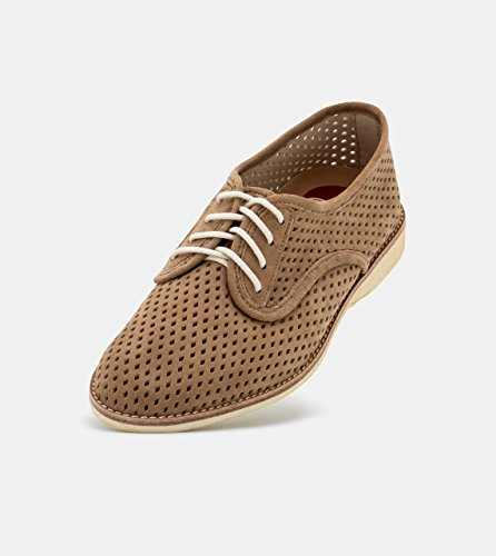 Rollie Women's Lightweight Derby Punch Perforated Lace-up Flats, Taupe Suede, - Lightweight Oxfords Suede