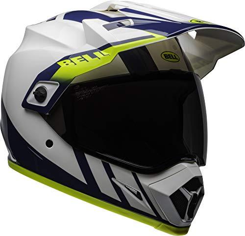 Bell MX-9 Adventure MIPS Full-Face Motorcycle Helmet (Dash Gloss White/Blue/Hi Viz, Large) (Bell Motor Cycle Helmet)