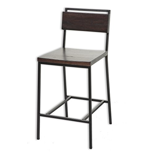 Olympia Metal Barstool with Black Cherry Wooden Seat and Matte Black Frame Finish, 30-Inch (Cherry Wide Bar Stool)