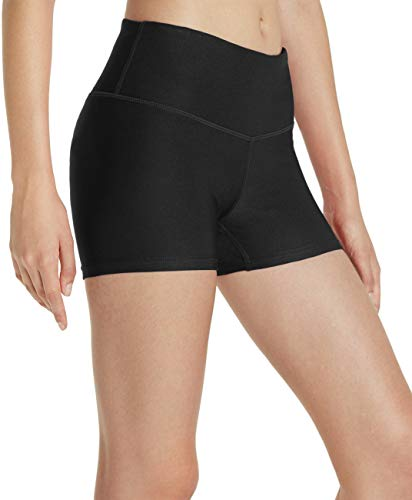TSLA Shorts Bike Running Yoga w Hidden Pockets, Yogabasic Thick 3inch(fys01) - Black, X-Large (Size 12-14_Hip43-45 ()