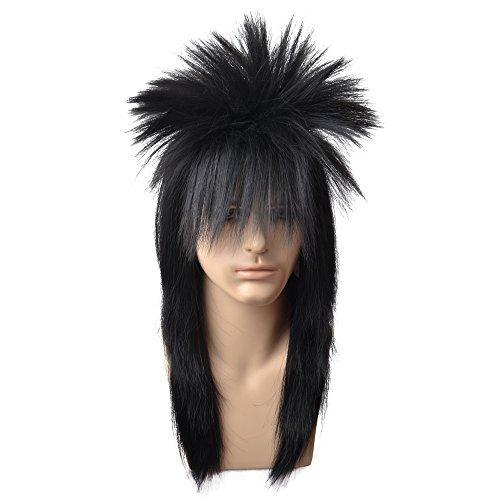 BERON 70s 80s Wig for Women Men Couples Halloween Costumes Wig Rocking Punk Rocker Mullet Wig Black -