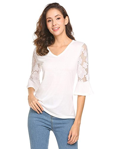 Easther Women Lace Bell Sleeve V Neck Casual Blouse Top(X-Large, Raw White Off White)