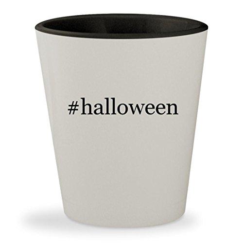 #halloween - Hashtag White Outer & Black Inner Ceramic 1.5oz Shot (Halloween Drinking Songs)