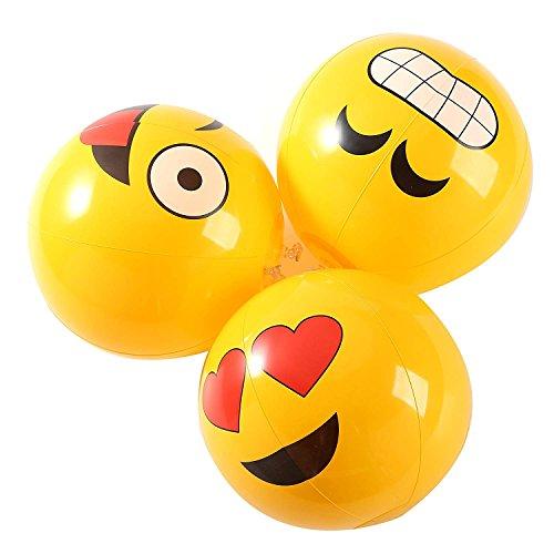 Fun Central AZ900 12 Pieces, 12 Inch Emoji Inflatable Beach Balls, Assorted Inflatable Beach Balls Kids, Beach Balls Inflatable Bulk