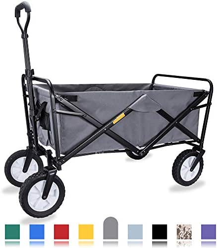 WHITSUNDAY Collapsible Folding Garden Outdoor Park Utility Wagon Picnic Camping Cart with Replaceable Cover (Standard Size 8