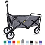 WHITSUNDAY Collapsible Folding Garden Outdoor Park Utility Wagon Picnic Camping Cart with Replaceable Cover (Standard Size, Grey)
