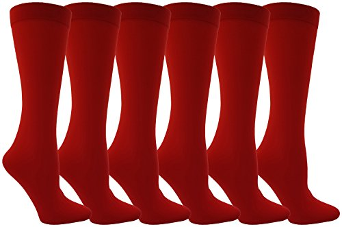 Women's Trouser Socks, 6 Pairs, Opaque Stretchy Nylon Knee High, Many Colors (Red) ()