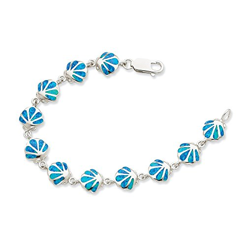 Sterling Silver 7in Created Blue Opal Inlay Shell Bracelet by CoutureJewelers