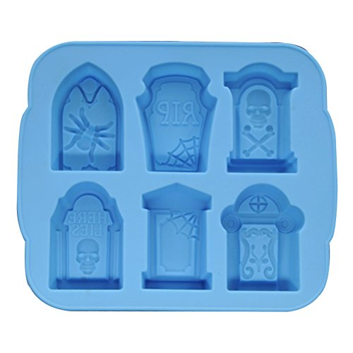 (Halloween Ice Molds Tombstone Silicone Ice Cube Wafer Mold Silicone Molds Tray Makers for Halloween Bar Party Accesory (Blue))