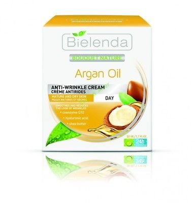 Bielenda Argan Oil Anti -Winkle Day Cream for Mature and dry skin. 24 hr hydrating. 1.7 (24 Hr Hydrating Care)