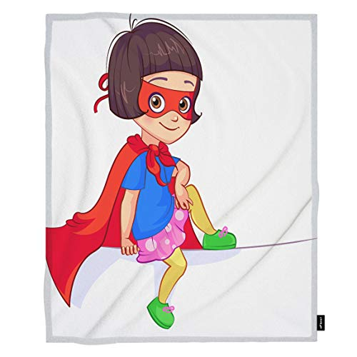 oFloral Superhero Throw Blanket Girl Kindergarten Humor Mask Superhero Custume Decorative Soft Warm Cozy Blankets for Baby Toddler Dog Cat Home Decor for Bed Chain Sofa Couch 30x40 -