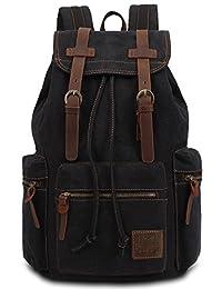 Leaper Vintage Canvas Backpack Casual Rucksack (Black 1)
