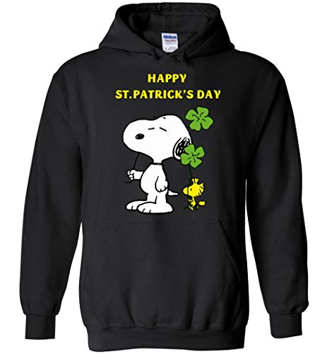 Happy St Patrick's Day Snoopy and Woodstock Hoodie Black ()