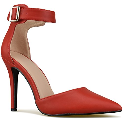 Premier Standard - Women's Ankle Strap Classy D'Orsay Dress Pumps Stilettos Sandals, TPS Heels-1Gnuoy Red Size - Pump Classy Dress