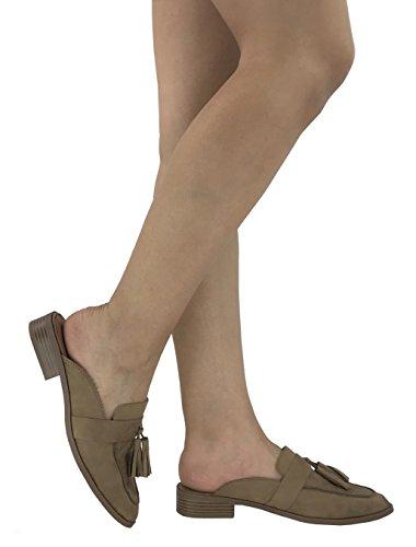 Paprika Women's Slip on Loafers Backless Closed Toe Low Heel Open Back Mule Natural W Tassle*