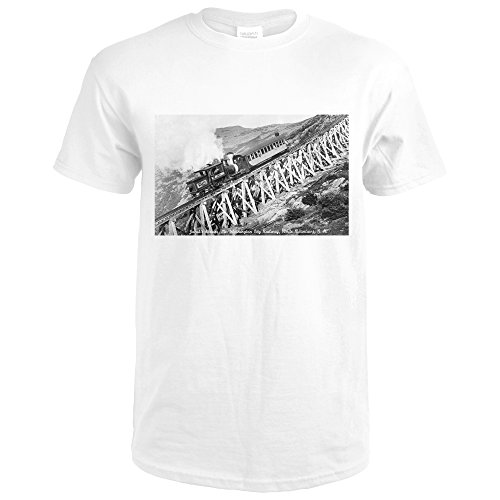 White Mountains, NH - Mt. Washington Cog Train, Jacob's Ladder (Premium White T-Shirt Large)