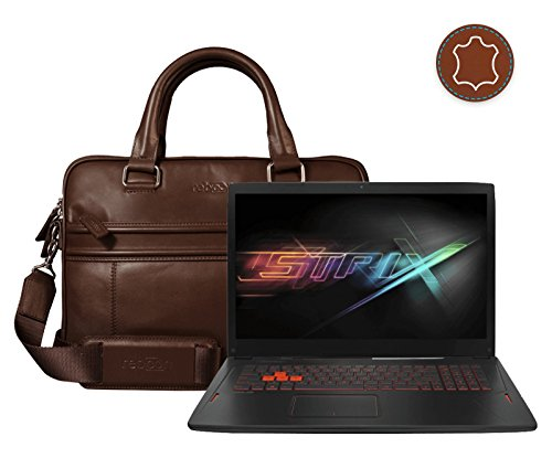 reboon Echt-Leder Laptop-Tasche in Schwarz Leder für ASUS GL702VM GC279T 17 3   17 Zoll   Notebooktasche Umhängetasche   Damen/Herren - Unisex   Premium Qualität Braun Leder RNi2NdGsd