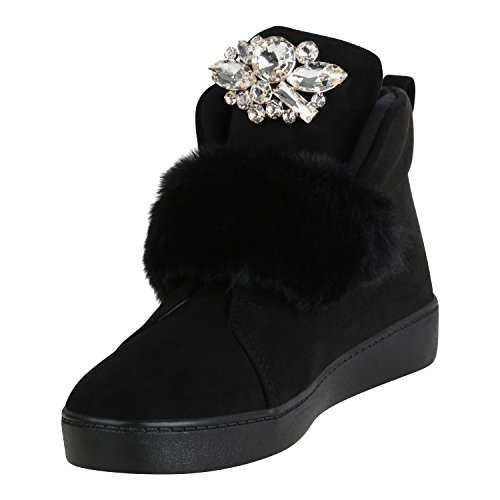 Stiefelparadies Damen Sneaker High Warm Gefütterte Sneakers Winter Schuhe Profilsohle Winterschuhe Schnürer Wildleder-Optik Turnschuhe Flandell Schwarz Strass