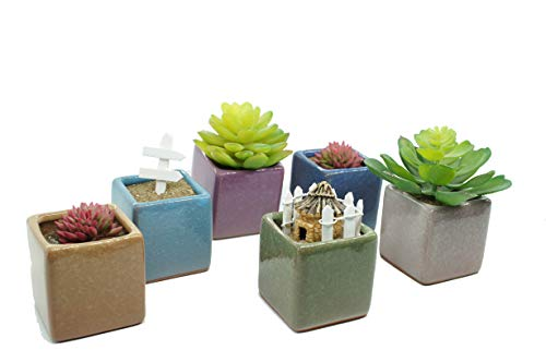 Ceramic Ice Crack Small Cute Succulent Plant Pots/Cactus Plant Pot/Flower Planter Pot with Drainage for Home & Kitchen Decoration - Pack of 6 Colors Including a Gift (A Little House) ()