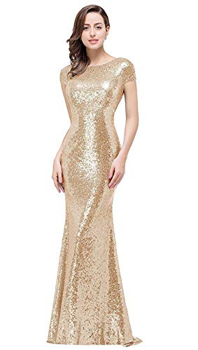 Mermaid Bridesmaid Dresses Long Sparkly Boatneck Cap Sleeve Backless Evening Party Gowns, Champagne, 10