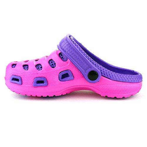Ameta Tuin Klompen Voor Dames Schoenen Muilezels Boot Rubber Sandalen Slippers Tweekleurige Slip-on Casual Massage Binnenzool Huis Tuin Wandeling En Meer Fuchsia