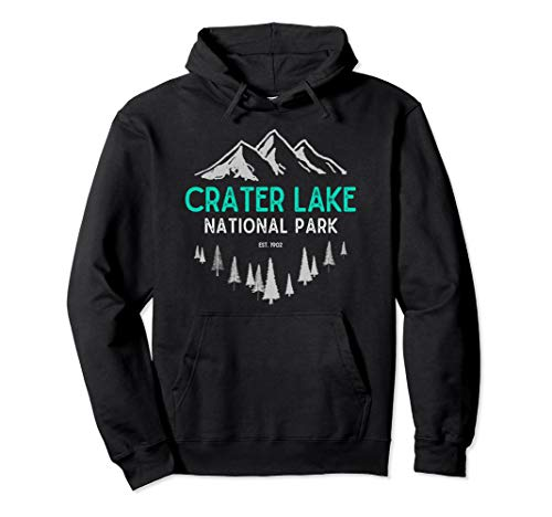 Crater Lake Vintage National Park Est 1902 Oregon Pullover Hoodie (Crater Mountain Hoodie)