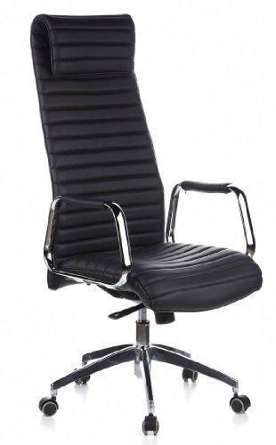 HJH OFFICE 600900 Bürostuhl / Chefsessel ASPERA 20 Nappaleder schwarz