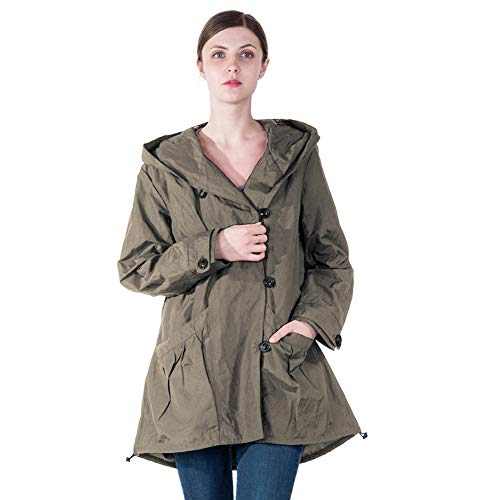 Infron IN FRONT Women Plus Size Elegant Hooded Single-Breasted ArmyGreen Anorak Coat Spring/Fall Lightweight -