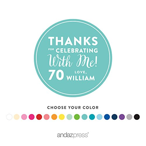 Andaz Press Personalized Round Circle Labels Stickers, Milestone Collection, Thanks for Celebrating with Me 70th Birthday Number Style, 40-pack, Custom Name Color, Decorations Party Favors, (Custom Favor Bags)