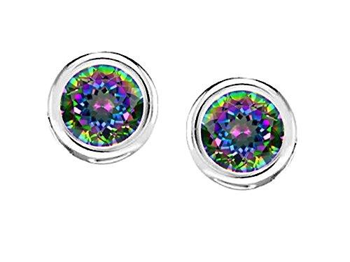 (Star K Bezel Set Round 5mm Rainbow Mystic Quartz Earrings Studs Sterling Silver)