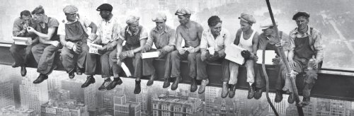 New York Lunchmen on Beam (Men Eating Lunch on a Girder) Decorative Photography Poster Print 12x36 ()