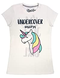 "Novel Teez Designs - Girls' ""Undercover Unicorn"" Short Sleeve T-Shirt, Off-White"