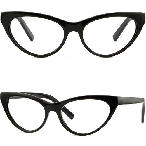 (Women's Cat Eye Plastic Acetate Frames Prescription RX Glasses Shiny Black)