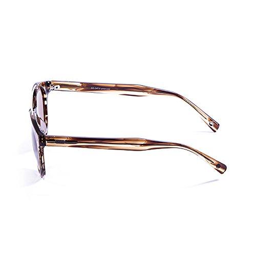 Ocean Sunglasses Tiburon Lunettes de Soleil Mixte Adulte, Brown Wood Striped/Brown Lens