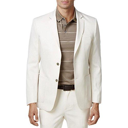 Tasso Elba Mens Silk 2 Button Sportcoat Ivory XXL