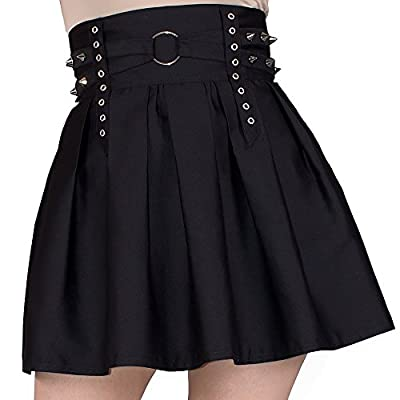 Vrolok Clothing Womens Skater Skirt Gothic Flared Spiked Mini Pleated High Waist