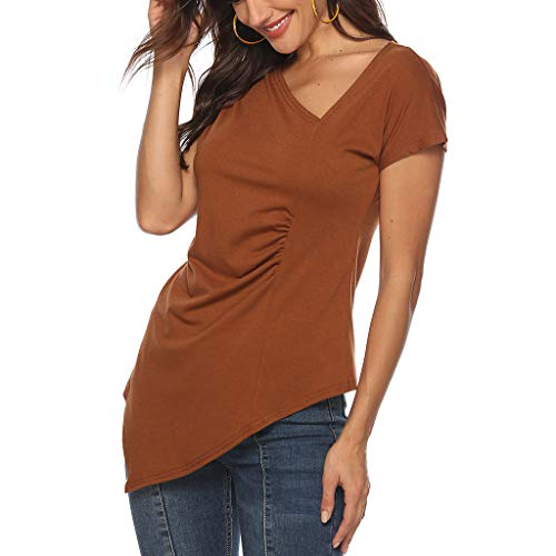 Xinantime Retro Element Solid Color Short-Sleeved T-Shirt top V-Neck Comfortable and Casual Red ()