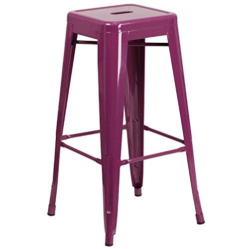 Flash Furniture 30'' High Backless Purple Indoor-Outdoor Barstool