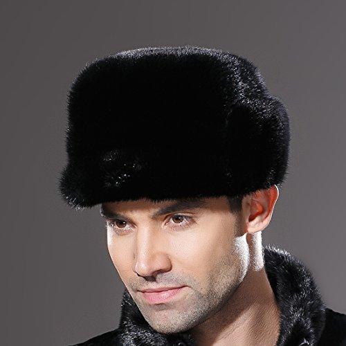 URSFUR Mne's Winter Fur Cap Genuine Mink Fur Fudd Hat Black S