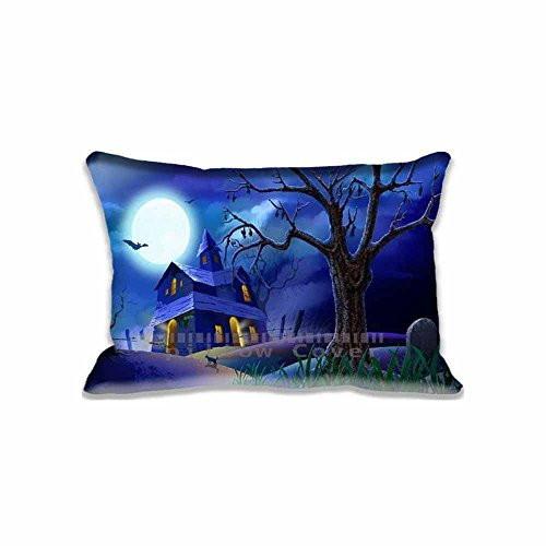 Custom Design Spooky House Bats Cat Night Full Moon Pillow Cases Zippered , Standard Queen Size Holidays Pillowcase - 20X30inch Halloween Cushion Covers Two Size Print - Michael Floral Print