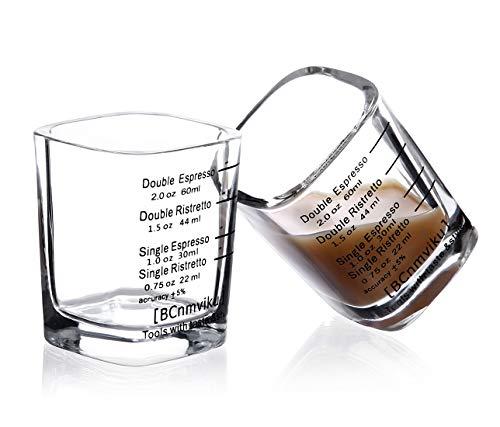 BCnmviku Espresso Shot Glasses Measuring Cup Liquid Heavy Glass for Baristas 2oz for Single Shot of Ristrettos (2 pack) ()