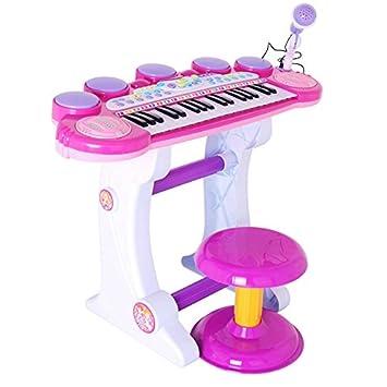 b74b2ee9ab3db Izumin ピアノ椅子のセット 37キ 音楽玩具 マイク付き 椅子付き 子供練習用