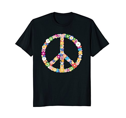 Peace Flowers Hippie Symbol T-shirt Cool Hippy Costume Tee