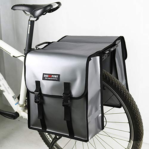 (Waterproof Clip Mesh Cloth Bicycle Bag - Wear-Resistant Mesh Cloth Riding Rear Frame Bag - Bicycle Saddle Bag-Size: 323514CM,Silver)