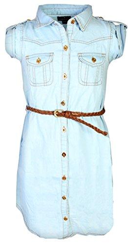 dollhouse Girls Roll Cuff Denim Dress with Braided Belt, Light, Size 7/8'