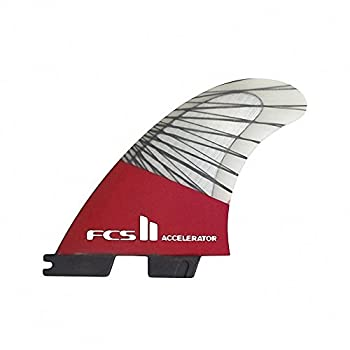 Image of FCS II Accelerator Performance Core Carbon Tri Fin Set - Red Mood