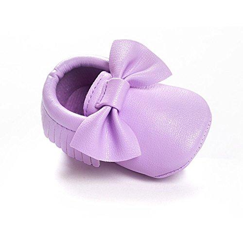 ESHOO bebé piel sintética borla zapatos suela suave Cuna Zapatos Bowknots Prewalker 0–18M A Talla:0-6 meses M